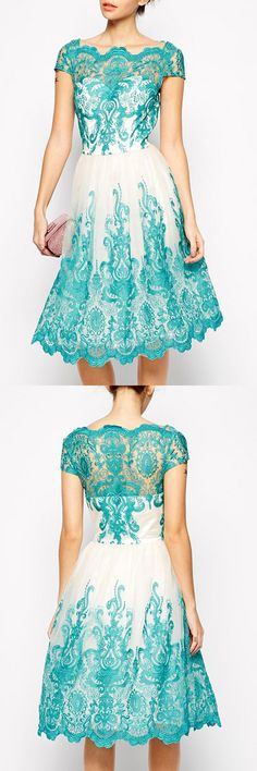 Elegant Jewel Neck Short Sleeve Hollow Out Spliced Women's Lace Dress