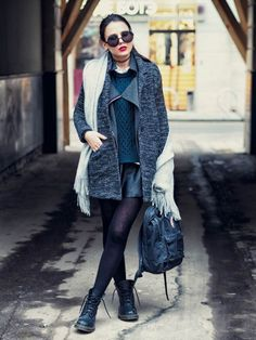 Preppy dr Martens outfit with knit, leather and red lips.