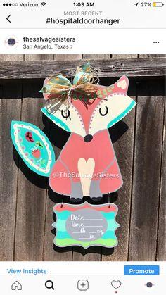 Fox Door Hanger, Fox Decor, Birth Announcement, Hospital Door Hanger, Woodlands theme, Nursery Decor, Fox, Wreath, Baby Shower, Baby Girl  https://www.etsy.com/listing/533203355/fox-door-hanger-fox-decor-birth