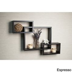 Laminate Intersecting Espresso Wall Shelf   Overstock.com Shopping - The Best Deals on Accent Pieces