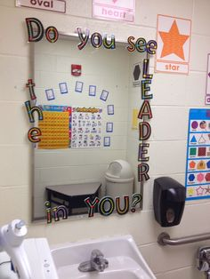 Classroom bathroom decorated with content posters and Leader in Me quote.  Don't forget that students have the opportunity to review skills even when they are in here! :-)