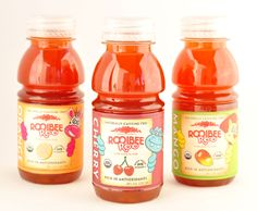 Bottled Tea For Kids Rooibee Roo is a bottled tea developed just for kids in three flavors: cherry, mango and orange. Certified organic rooibos tea is naturally caffeine free, has only 12 grams of organic cane sugar and less than 60 calories per 8 ounces. www.rooibeeredtea.com
