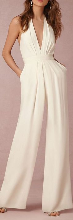 @roressclothes clothing ideas #women fashion white halter jumpsuit