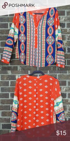 Gibson Latimer top Gorgeous blouse from Dillard's. Looks awesome with white shorts or capris. 100 percent polyester, orange and multi color design. Gently used from a smoke free home. Gibson Latimer  Tops Blouses