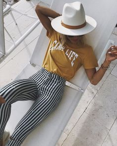 striped pants + retro tee + fedora hat + bohemian style look + outfit inspo