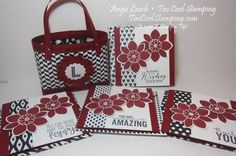 Bag In A Box Handbags Gift Set Class - Cherry Cobbler.  CASEd from Crafty Hallett.  back to black, handbag, note cards, monogram, petal potpourri, stampin up, cards, gift set  Class details at www.toocoolstamping.com