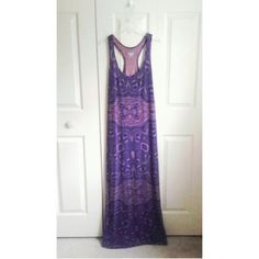 Purple racerback maxi dress Lightly loved, only sign of wear is a hole along the upper back. This is a medium although it is on the loose side and could probably fit a large comfortably Mossimo Supply Co Dresses Maxi