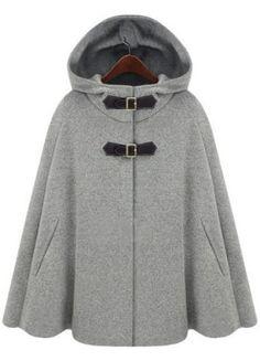 Grey Hoodie Two PU Buckle Woolen Cape Coat - Sheinside.com