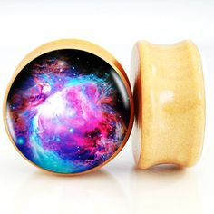 Nature Wood Ear Plugs Fit Ear Gauges Plugs WIth a Nebula Design