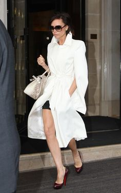 victoria beckham's winter white coat is white hot!! shoes too.
