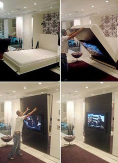 Decorate your room in a new style with murphy bed plans Space Saving Beds, Space Saving Furniture, Small Space Living, Small Spaces, Small Rooms, Cama Murphy, Hideaway Bed, Modern Murphy Beds, Hidden Bed