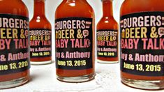 Baby Shower favors. Burgers Beer and Baby Talk It's a