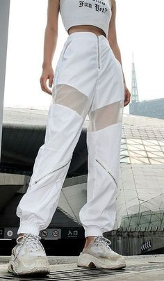 White mesh sweatpants fashion streetwear pants sweatpants joggers sweatpants for women official champion store i uk Teen Fashion Outfits, Sporty Outfits, Mode Outfits, Korean Outfits, Retro Outfits, Stylish Outfits, Girl Outfits, Hipster Outfits, Hip Hop Dance Outfits