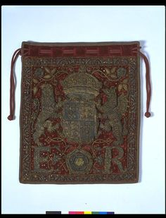 Circa 1558-1603, Burse  The Burse for the Great Seal of England was a very special kind of ceremonial purse made of rich materials and decorated with the current monarch's arms and initials. It was used to contain the Great Seal, which symbolised the majesty of the law in the same way that the crown symbolises the monarchy.