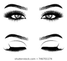 Hand-drawn woman's eyes with perfectly shaped eyebrows and full lashes with intense smoky make-up. Idea for business visit card, typography vector Perfect Eyebrow Shape, Perfect Eyebrows, Tweezing Eyebrows, Threading Eyebrows, Longer Eyelashes, Fake Eyelashes, Eyebrows Sketch, Mood Designer Fabrics, Reggae Art