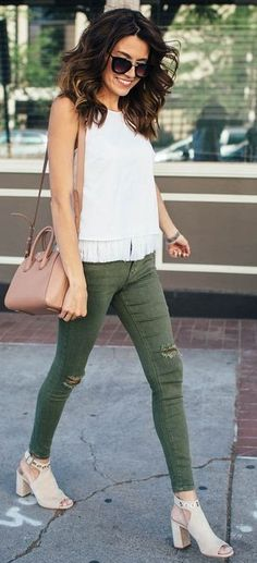 #summer #trending #style |  White + Army Green + Pop Of Pink