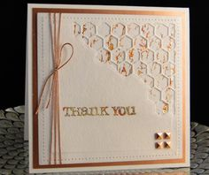 Thank You card for Patrick 2016. I used a tree bark stamp behind the Tim Holtz cut to use the gold leafing on. The leafing is also on the Thank You. Made by Peggy Dollar