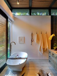 Like the feel of this.  Open to side yard and high windows. Bathroom 5x5 Design, Pictures, Remodel, Decor and Ideas - page 60