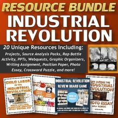 Industrial Revolution Resource Bundle includes 20 unique documents totaling over 240 pages/slides of excellent and engaging content that will improve your unit.  The bundle focuses on the major people, events, themes and innovations of the Industrial Revolution.