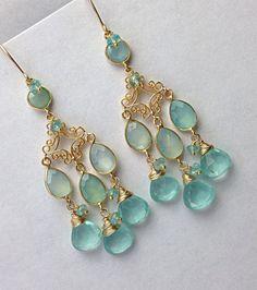 Aqua Chandelier Earrings Chalcedony By Doolittlejewelry 168 00