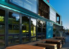 Wahaca Southbank restaurant in shipping containers by Softroom