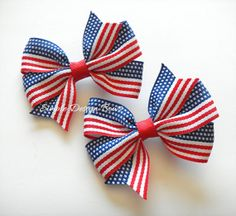 4th of July Hair Bows - American Flag Bows - Patriotic Bows - Pigtail Bows by simpledesignbows