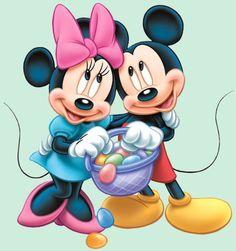 Mickey @ Minnie   Mickey e Minnie seguranso cesta com ovos de Páscoa png