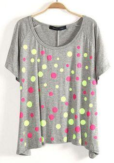 #SheInside Grey Batwing Short Sleeve Polka Dot T-Shirt
