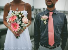 Gerber daisy, coral roses & dusty miller bridal bouquet & boutonniere...