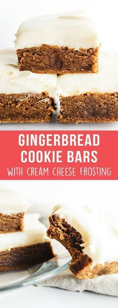Gingerbread Cookie Bars with Cream Cheese Frosting are ultra thick, soft, and chewy with tons of aromatic spices and a generous layer of tangy frosting! Baking Recipes, Cookie Recipes, Dessert Recipes, Uk Recipes, Dessert Ideas, Easy Recipes, Salad Recipes, Healthy Recipes, Holiday Baking