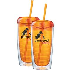 Pampered Pets Acrylic Straw Tumblers, 16-Ounce, Orange, 2-Pack >>> Continue to the product at the image link.