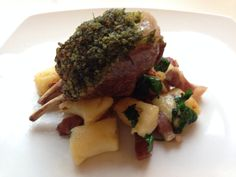 Herb crusted rack of lamb with parmesan gnocchi, parsley and pancetta salad