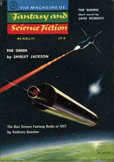 The Magazine of Fantasy and Science Fiction, March 1958. Cover by Mel Hunter.