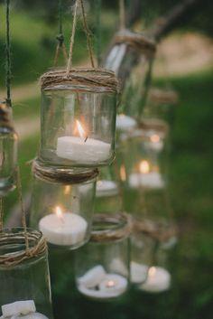Detalle decoración cristal con velas