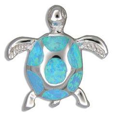 Sterling Silver Hawaiian Blue Opal 3D HONU Pendant