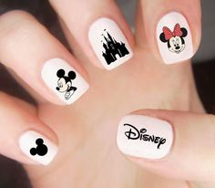 Disney Nail Decals Disney Nails Mickey Mouse Nail Decals With Disney Nails Disney Acrylic Nails, Cute Acrylic Nails, Cute Nail Art, Cute Nails, Pretty Nails, Disney Nails Art, Ongles Mickey Mouse, Minnie Mouse Nails, Nail Art Designs