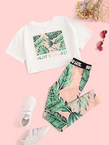 SHEIN Kiddie Girls Letter And Plants Print Tee With Leggings Boho Two Piece Sets 2019 Summer Short Sleeve Skinny Kids Outfits – nooncart Teenage Outfits, Kids Outfits Girls, Sporty Outfits, Cute Outfits For Kids, Cute Summer Outfits, Cute Casual Outfits, Stylish Outfits, Cute Stuff For Girls, Girls Fashion Clothes