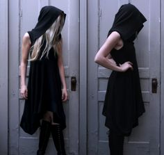 NUIT — The Fractal Dimension Hooded Dress looooooove hooded dresses Dark Fashion, High Fashion, Dystopian Fashion, Hooded Dress, Textiles, Fall Dresses, Buy Dress, My Wardrobe, Style Me