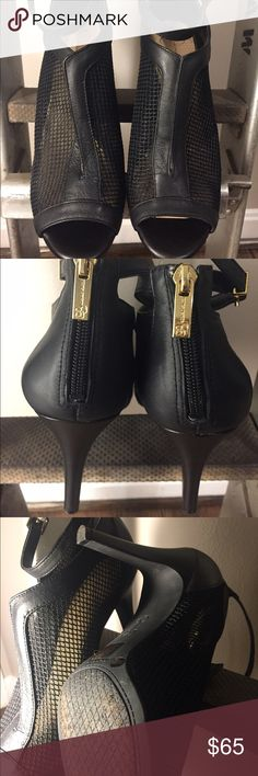Jessica Simpson mesh ankle strap peep-toe Black mesh heels with ankle strap. Size 9 medium. Amazing condition! Only worn once for photo shoot. Gold zippers and buckle. Jessica Simpson Shoes Heels