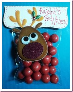 "Rudolph's Noses Christmas Candy Favor Bag. Love this one! Will have to do this because of my maiden name being ""Rudolph"""
