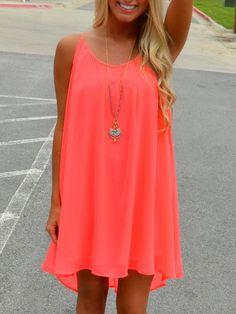 Pink, Mesh Back, Spaghetti Strap, Loose Midi Dress, Shift Dress