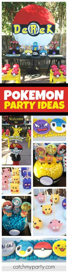 Check out this awesome Pokemon Go birthday party. The character cake pops are so Pokemon Themed Party, Pokemon Birthday, 6th Birthday Parties, 8th Birthday, Birthday Ideas, Party Time, Cake Pops, Party Ideas, Check