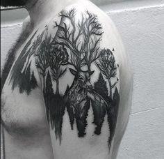 Deer In Forest Mens Negative Space Upper Arm Tattoos