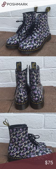 NEW Doc Martens Original Air Wait Floral Brand new, never been worn! No box. Beautiful little floral pattern on black with black laces and yellow stitching on the sole. Authentic original Dr. Martens. Leather. Dr. Martens Shoes Lace Up Boots