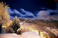 Picture of  Méribel, France in  The Alps at night.
