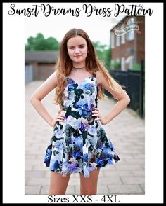 Dreams Dress Pattern Teen & Women's Sunset Dreams Dress PDF Sewing Pattern by Ellie and Mac Casual Summer Dresses, Dresses For Teens, Trendy Dresses, Dress Casual, Women's Dresses, Sewing Projects For Kids, Sewing For Kids, Sewing Ideas, Sewing Crafts