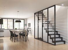 Escalier droit ou 1/4 tournant Contemporain en acier et verrière toute hauteur en métal - Escaliers Décors® Home Room Design, House Design, Crittal Doors, Stair Renovation, Escalier Design, Bedroom Wall Designs, Exterior Stairs, Grill Design, House Stairs