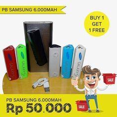 Kode Barang : PB1197   Promo Buy 1 Get 1 FREE! Powerbank Samsung 6.000mah  Warna ready merah hijau biru hitam putih pink  Buy 1 get 1 = 50rb Buy 3 get 3 = 150rb Buy 5 get 5 = 250rb - Bisa nempel di kaca - Bonus 1 konektor - Garansi pemakaian 1 bulan  Harga belum termasuk ongkos kirim Pengiriman dari Jakarta Selatan  Order Line @oiq5648w (pakai @) More info : Klik : http//http://bit.ly/LineDityaGadget WA : 082135144738 (Isla) WA : 085875166325 (Anin)  #powerbank #powerbankmurah…