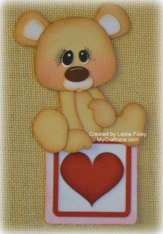 Valentines Sitting Bear Premade Scrapbooking por MyCraftopia