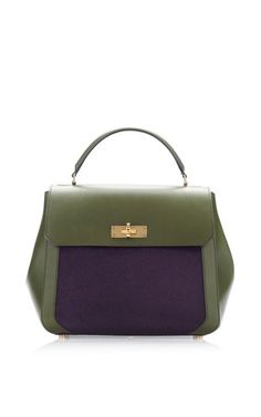 Green Leather And Purple Pony Shoulder Bag by Bally for Preorder on Moda Operandi